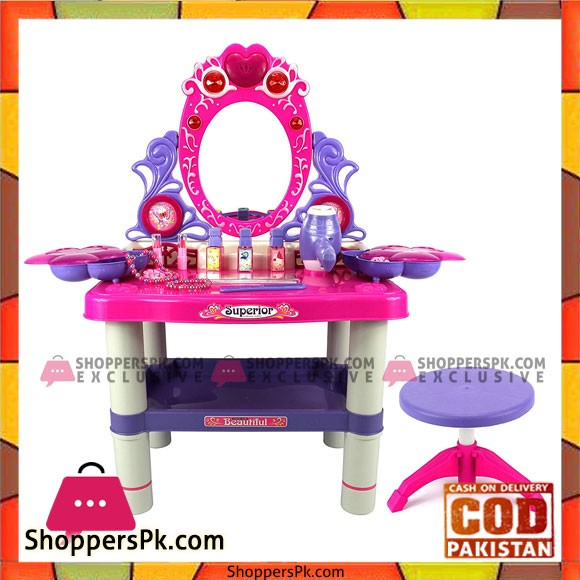 Battery Operated Beauty Queen Dresser Pretend Play Toy Beauty Mirror Vanity Play Set with Flashing Lights,Music Accessories 73008