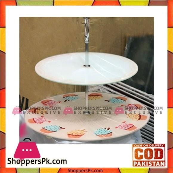 2 Layer Cake Stand Glass