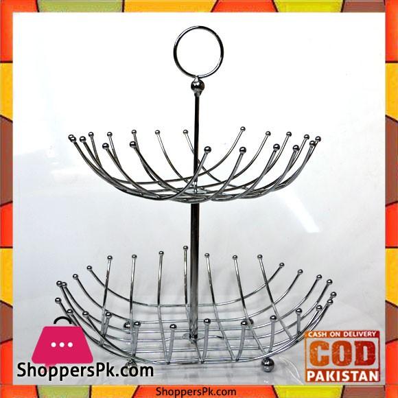 2 Tier Fruit Basket Stainless Steel