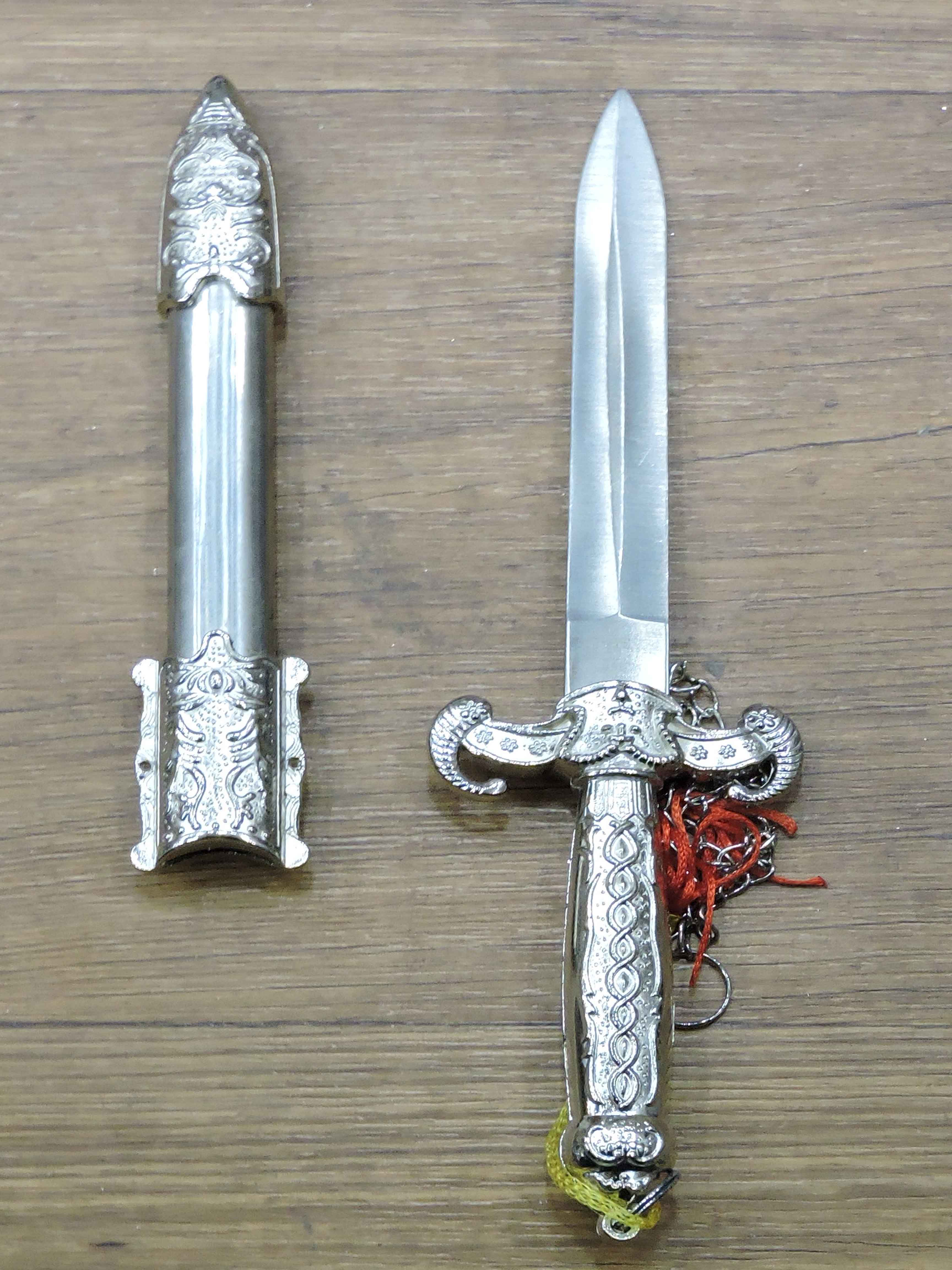 Chinese-Silver-sword-Decoration-Steel-Blade-No-Edge-20cm..