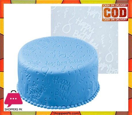 Happy Birthday Fondant Imprint Silicone Mat 20×20