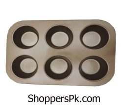 Non-stick-Baking-Pan-6-cup-Mini-Cupcake-Muffin-Pan-Golden-brown-Colored-Smooth-Glossy-Coating