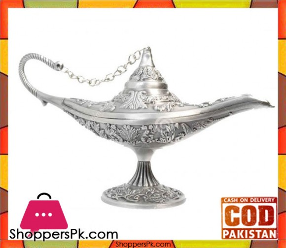 Pewter Metal Silver Aladdin Lamp Table Decoration Small