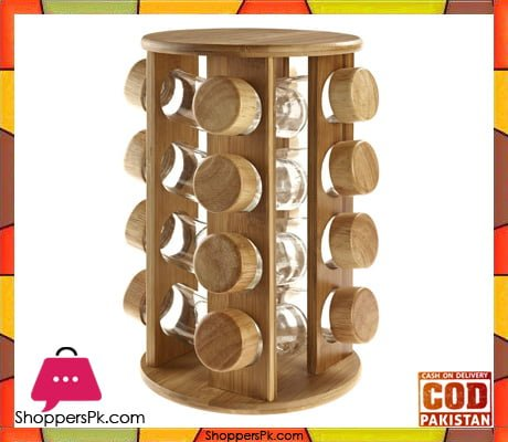 Revolving Rubber Wood Spice Rack 16 Pcs