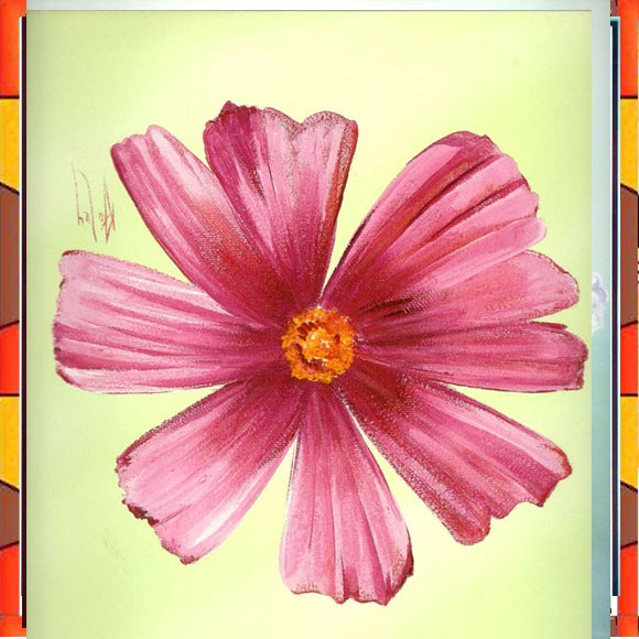 Flower Painting Print with Frame 13 - 12x12 Inch
