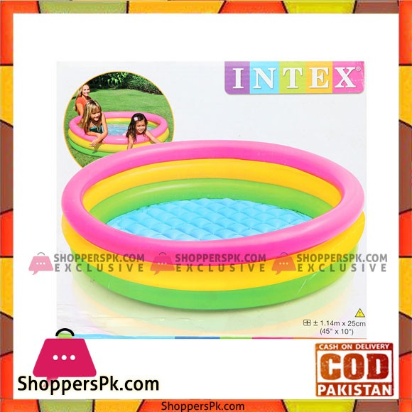 Intex Inflatable Baby Swimming Pool - 3.75 Feet x 10 Inch - Age 1+ - 57412