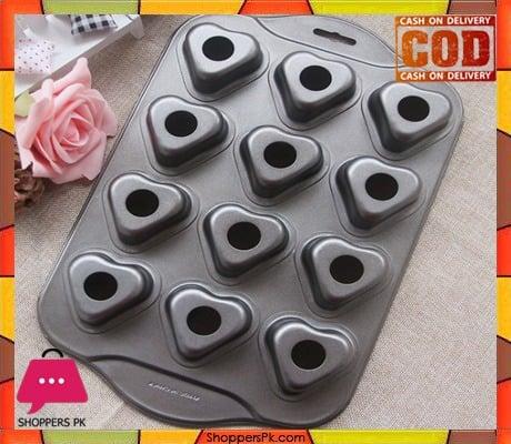 Mini Cheese cake Pan 12 Cups Pan Heart Shape Drop Bottom