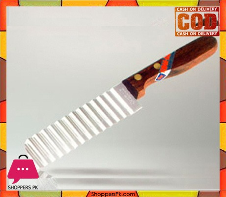 Crinkle Cutter Knife Wood Handle