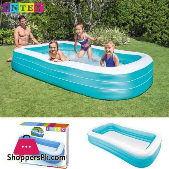 Intex Rectangular Swim Center Family Swimming Pool - 10 x 6 x 1.8 Feet - Age 3+ - 58484
