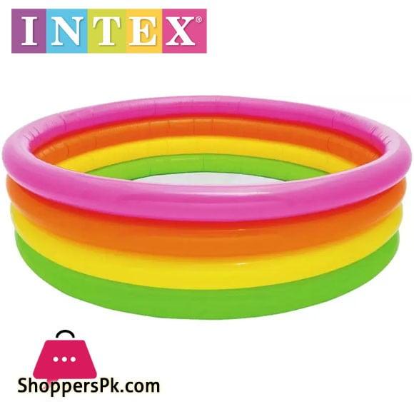 Intex Sunset Glow Four-Ring Pool - 5.5 Feet x 18 Inch - Age 3+ - 56441