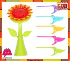 Plastic Sunflower fruit fork set