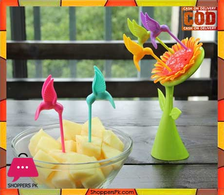 Plastic Sunflower fruit fork set
