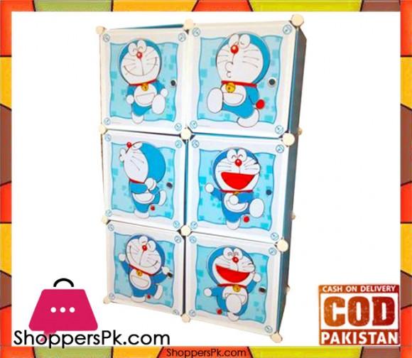 Portable 6 Cubes Cabinet Doraemon