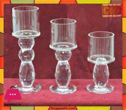 3 Pcs Crystal Candle Holder Price in Pakistan