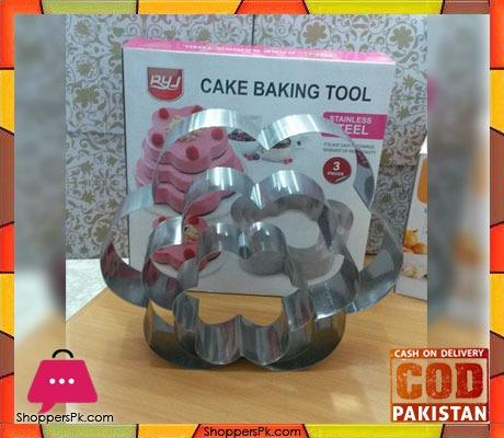 Cake Baking Tool Stainless Steel 3 Pcs Flower Shape