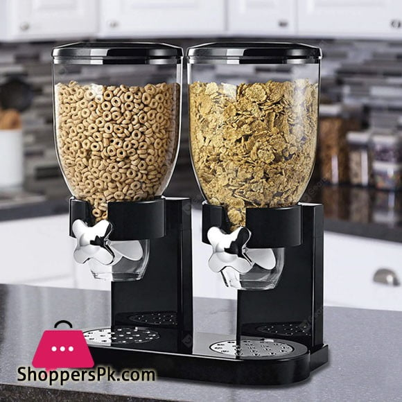 Double Cereal Dispenser Dry Food Container Pasta Kitchen Machine