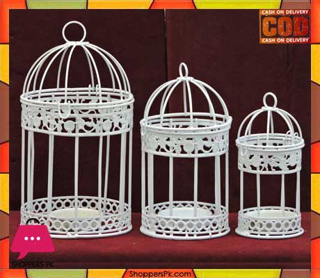 Metal Bird Cage Candle Holder 3 Pcs Price in Pakistan