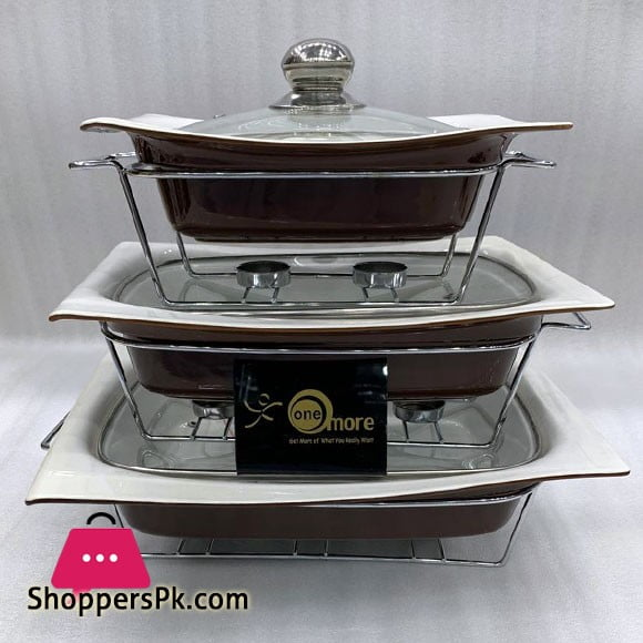 Buffet Dishes With Glass Lids & Stand 3 Pcs Set 009-80