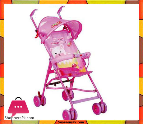Pink Bear Baby Stroller