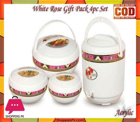 Happy White Rose Gift Pack Hot Pot Water Coolar 4 Pcs Set