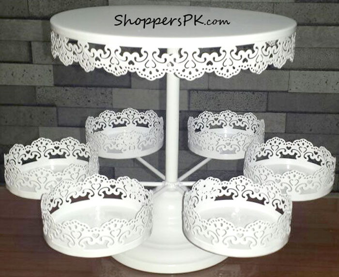 Buy 2 Tiers White Lace Iron Cake Stand Cupcake Holder At