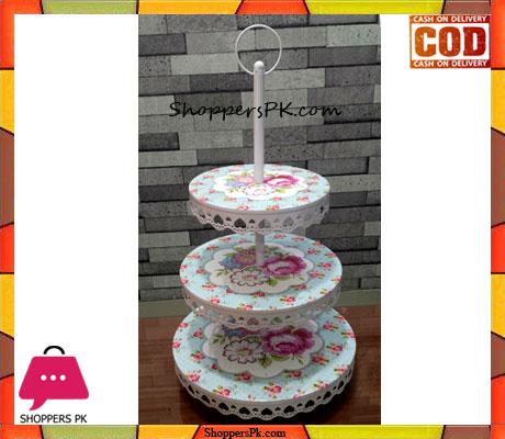 3 Layer Metal Cupcake Cake Stand Flower