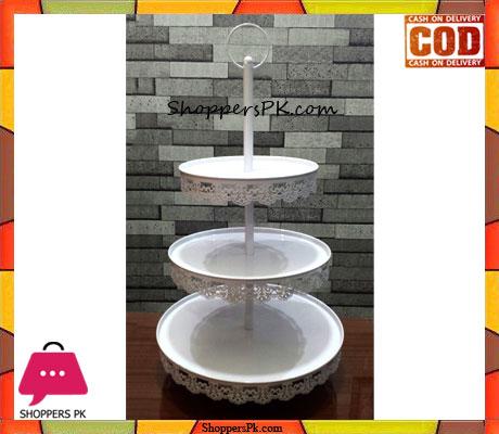 3 Tier White Iron Metal Cupcake Cake Stand