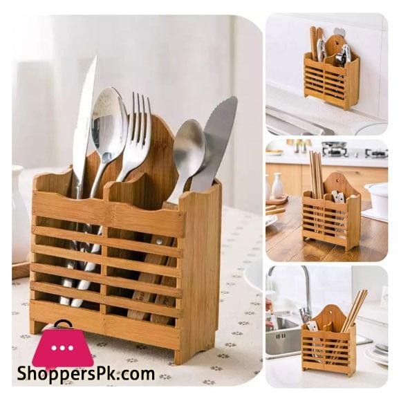 Bamboo Wood Spoon Holder