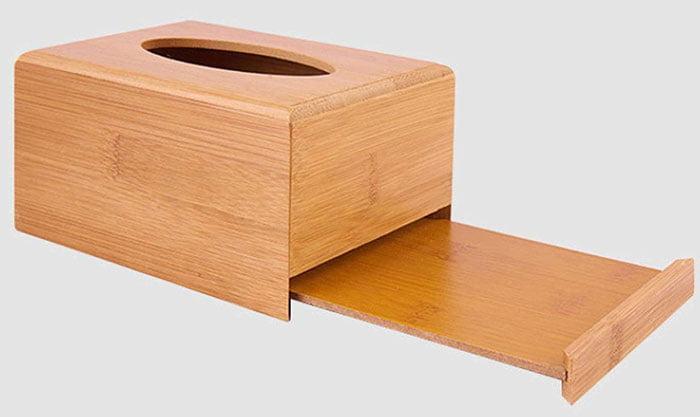 Bamboo Wood Tissue Rectangular Box