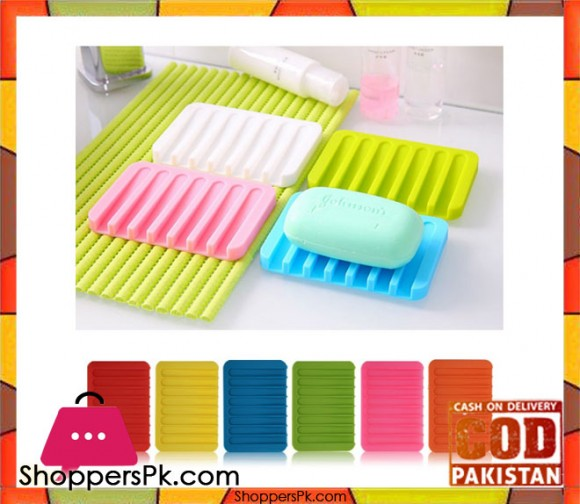 1Pcs Candy Color Silicone Soap Dish Bathroom