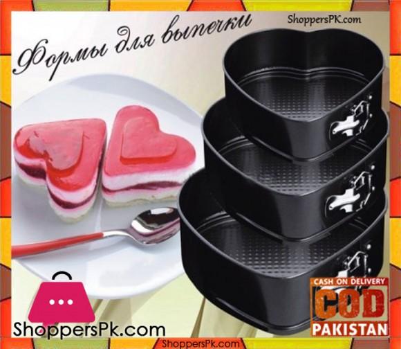 Empire 3 Pcs Heart Shape Baking Pan Non Stick