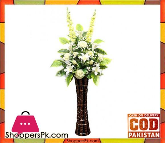 The Florist Luxury Artificial Decorative Flowers with Fibre Vase