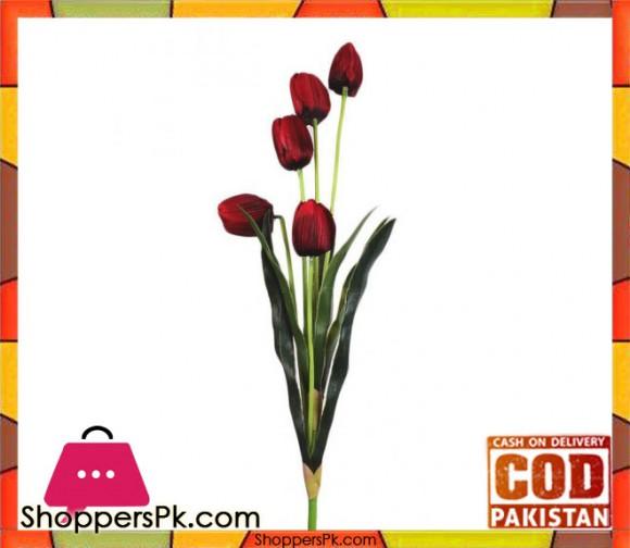 The Florist Maroon Artificial Tulip Stick - FL107