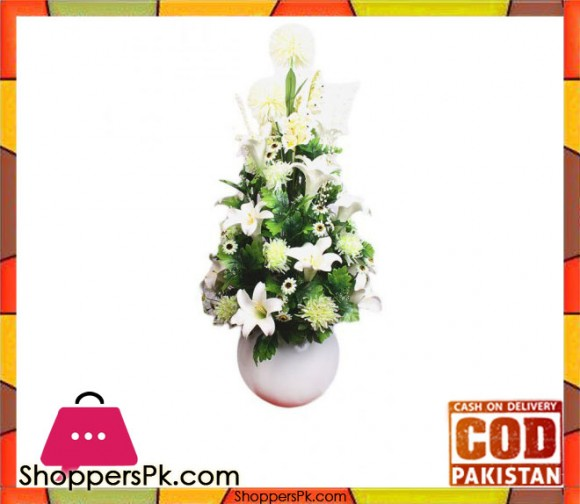 The Florist White Artificial Tulip & Rose Premium Flower Fiber Pot