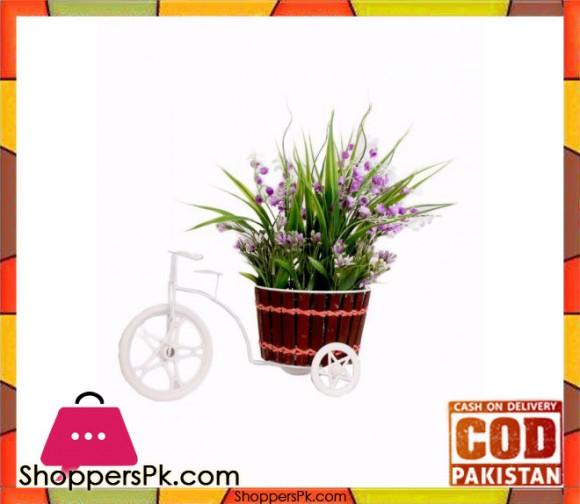 The Florist Purple Artificial Flower on Metal Cart - FL19