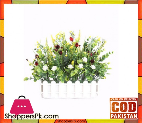 The Florist Multicolored Artificial Flower Plastic Fence Arrangement - FL26
