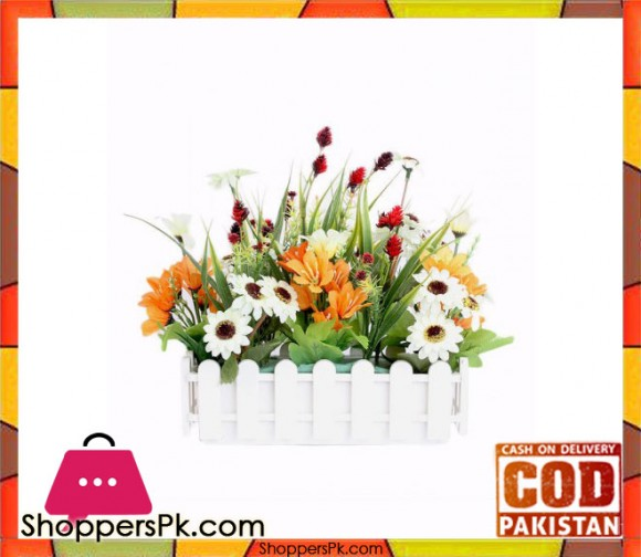 The Florist Multicolored Artificial Flower Plastic Fence Arrangement - FL31