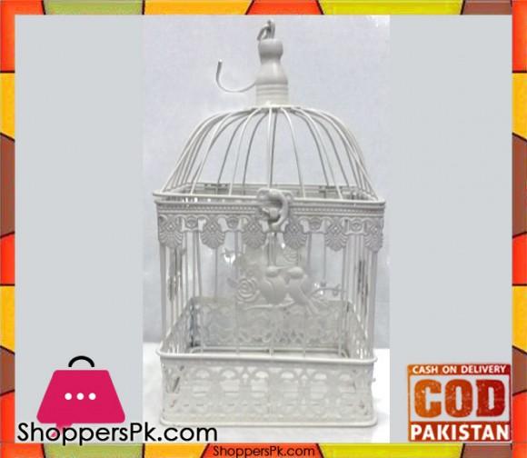 intage Iron White Square Decorative Metal Bird Cage Large