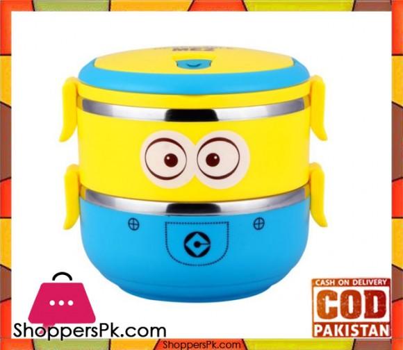 2 Layer Minion Cartoon Lunch Box For Kids