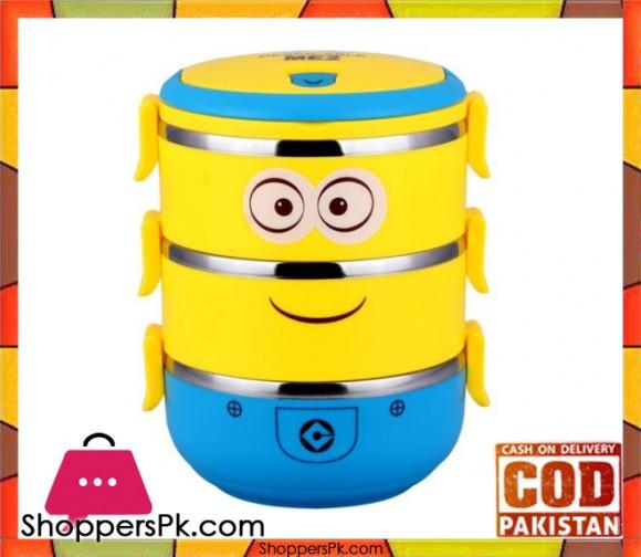 3 Layer Minion Cartoon Lunch Box For Kids
