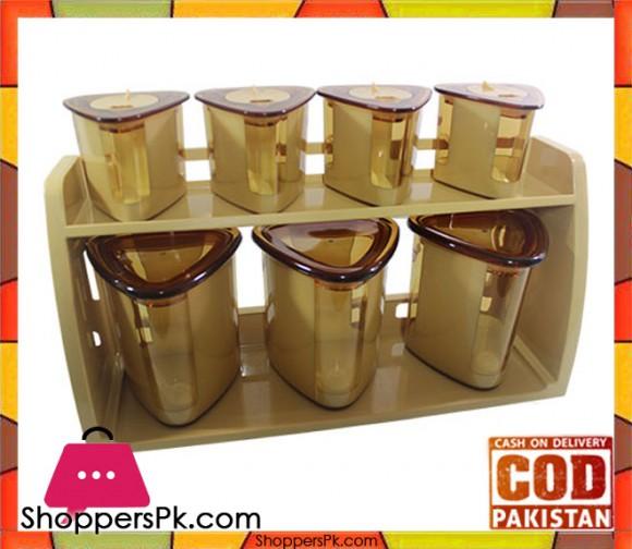 Bita Jars Set Wall Mounted Stand 8 Pcs Set Triangle