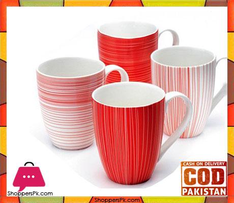 Symphony Alfersco Fine Line Red Mug 4 Pcs Set #SY6038