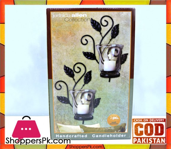 Jessica Allen Collection 2 Pcs Metal Candle Holder 74518