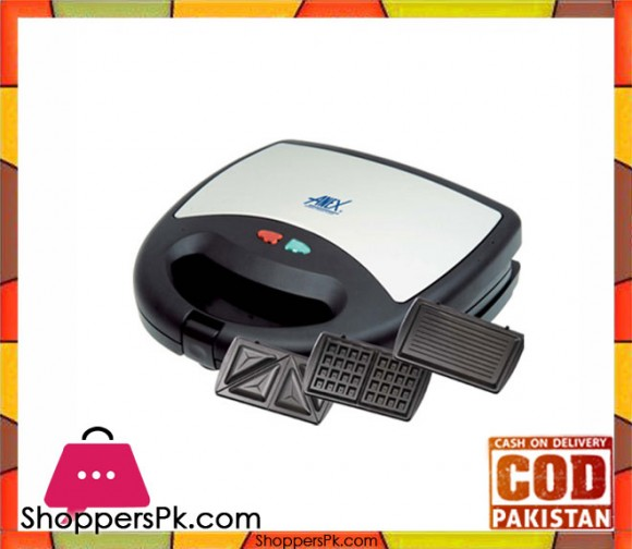 Anex AG-1039 C - Sandwich, Waffle And Grill Maker - Black - Karachi Only