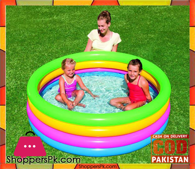 Buy bestway 4 ring colorful summer pool for kids size 5 1 for Best children s paddling pool