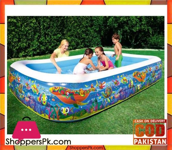 Bestway Multicolor Vinyl Kids' Play Pool-size-10 x 6 x 1.8 Feet - Age 3+ -#54121