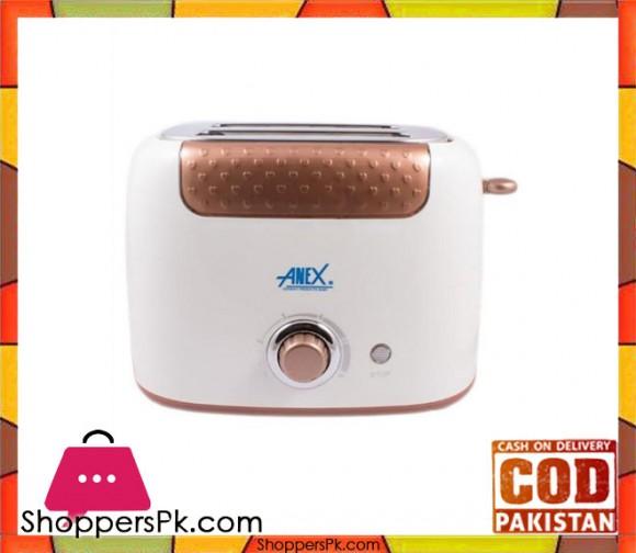 Anex AG-3001 - Deluxe 2 Slice Toaster - Brown & White - Karachi Only