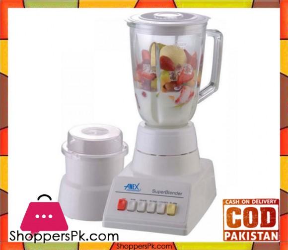 Anex AG-808 - Glass Blender & Grinder - 350 W - White (Brand Warranty) - Karachi Only