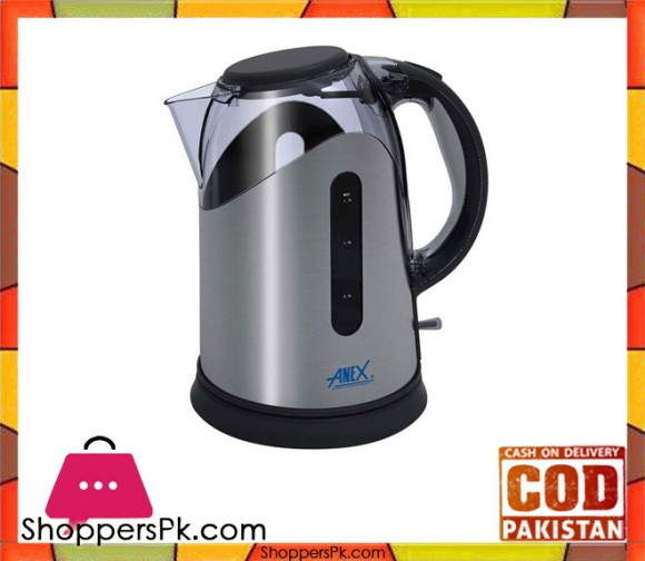 Anex Anex AG-4037 - Electric Kettle with Concealed Element - 1.7 Litres - Black & Silver (Brand Warranty) - Karachi Only