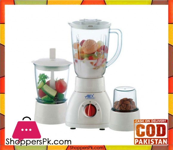Anex AG-6029 - 3 in 1 Deluxe Blender with Grinders - White - Karachi Only
